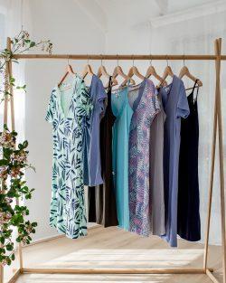 Moisture Wicking Sleepwear Hanging on rack
